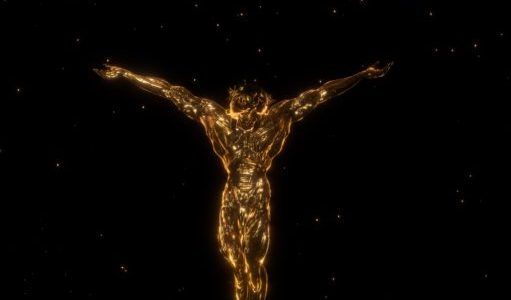 Christian Lemmerzs, La Apparizione, A Christ-like figure in 3D, golden against a black background